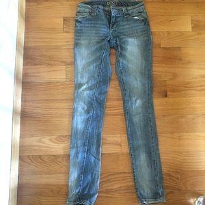 Slightly Distressed Skinny Blue Jeans
